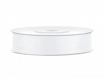 Grosgrain ribbon, white, 15mm/25m (1 pc. / 25 lm)