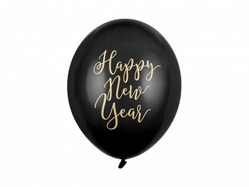 Balloons 30cm, Happy New Year, Pastel Black (1 pkt / 50 pc.)