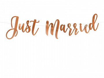 Banner Just Married, rose gold, 20x77cm