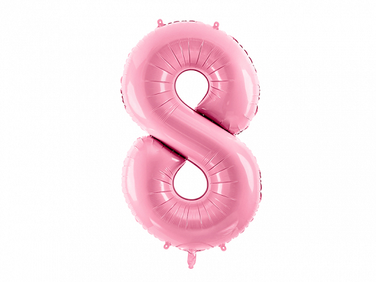 "Foil Balloon Number ""8"", 86cm, pink"