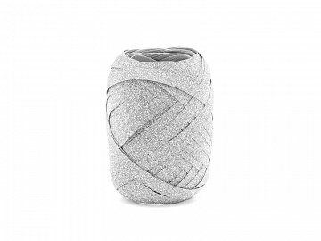 Plastic ribbon, silver, 5mm/10m