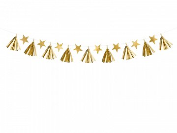 Paper garland Stars, gold, 1.3m