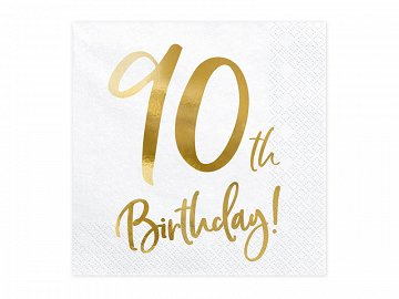 Napkins 90th Birthday, white, 33x33cm (1 pkt / 20 pc.)