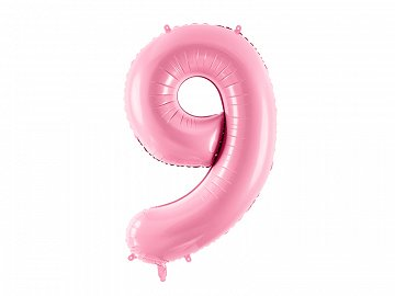"Foil Balloon Number ""9"", 86cm, pink"