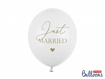 Balony 30cm, Just Married, P. Pure White (1 op. / 6 szt.)