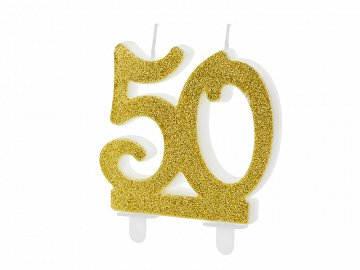 Birthday candle Number 50, gold, 7.5cm