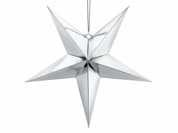 Paper star, 70cm, silver