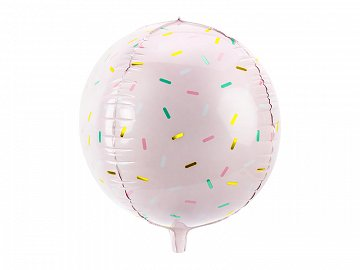 Foil balloon Ball - Sprinkle, 40cm, light pink