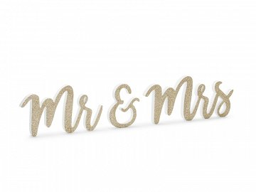 Wooden inscription Mr & Mrs, gold, 50x10cm