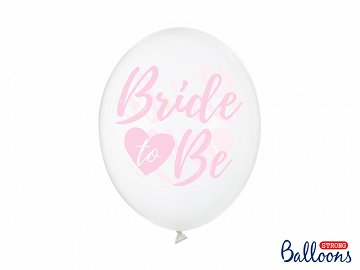 Balony 30cm, Bride to be, Crystal Clear (1 op. / 6 szt.)