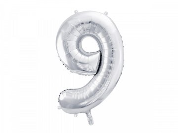 "Foil Balloon Number ""9"", 86cm, silver"