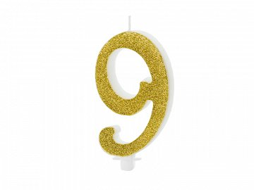 Birthday candle Number 9, gold, 10cm