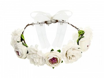 Flower crown, white, 17cm
