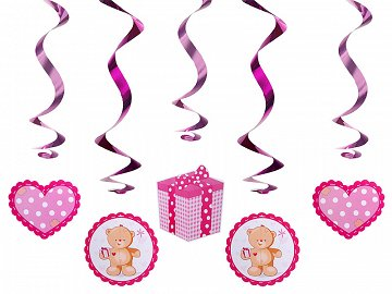 Swirls Teddy bears, pink, 60cm (1 pkt / 5 pc.)