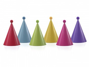 Party Hats with pompoms, mix, 16cm (1 pkt / 6 pc.)