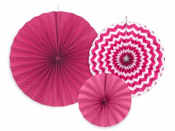 Decorative rosettes, fuchsia (1 pkt / 3 pc.)