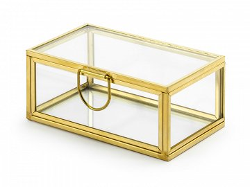 Glass rings box, gold, 9x5.5x4cm