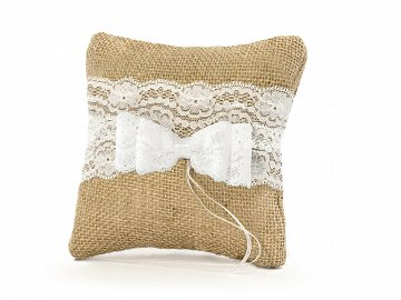 Ring bearer pillow, brown, 16 x 16cm