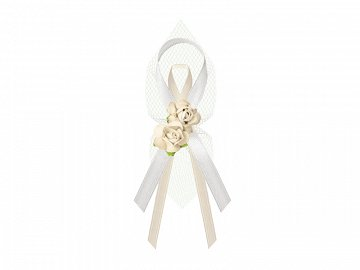 Lapel ribbons with roses, cream (1 pkt / 6 pc.)