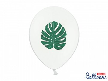 Balloons 30 cm, Aloha - Leaves, Pastel Pure White (1 pkt / 6 pc.)