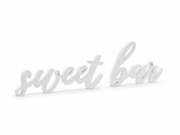 Wooden inscription Sweet bar, white, 37x10cm