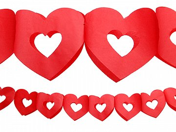 Tissue paper garland Hearts, red, 3m