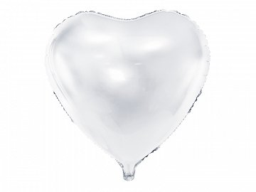 Foil Balloon Heart, 45cm, white