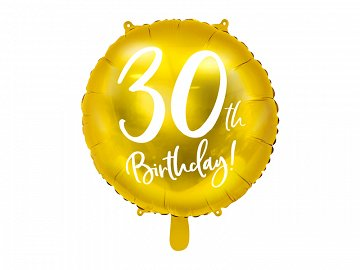 Foil Balloon 30th Birthday, gold, 45 cm