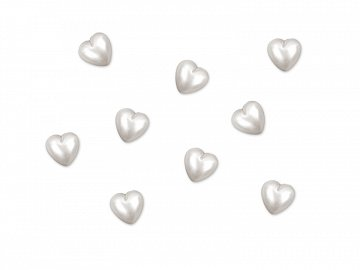 Acrylic embellishments Heart, pearl, 8mm (1 pkt / 50 pc.)
