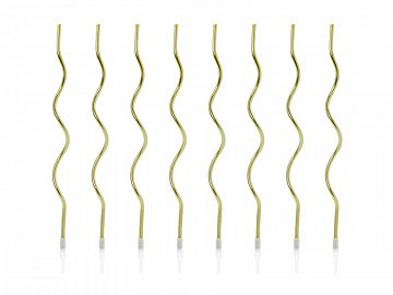 Birthday candles curl, gold, 14 cm (1 pkt / 8 pc.)