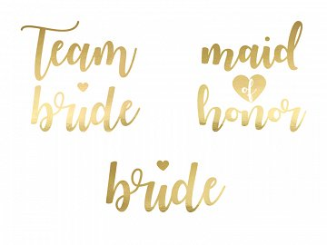 Temporary tattoos Bachelorette party, gold (1 pkt / 13 pc.)