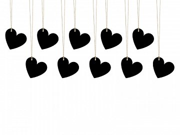 Paper Hearts, black, 5 x 4.5cm (1 pkt / 10 pc.)