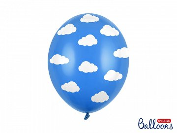 Balloons 30cm, Clouds, Pastel Cornflower Blue (1 pkt / 6 pc.)