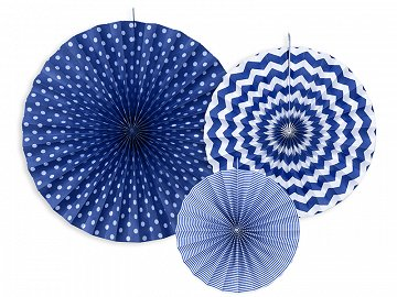 Decorative Rosettes, navy blue (1 pkt / 3 pc.)