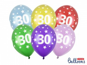 Balony 30cm, 30th Birthday, Metallic Mix (1 op. / 6 szt.)