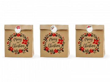 Gift bags Merry Little Christmas, kraft, 25x11x27cm (1 pkt / 3 pc.)