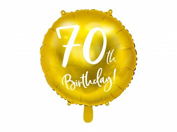 Foil Balloon 70th Birthday, gold, 45cm