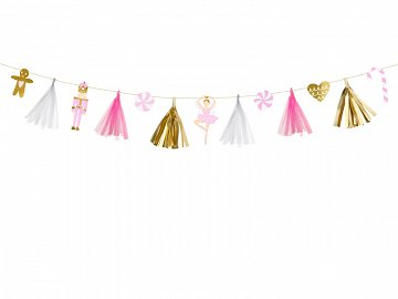 Christmas paper garland, mix, 1.3m