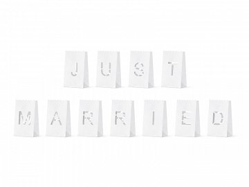 Lanterns, candles bags - Just Married, 11.5x19x7cm (1 pkt / 11 pc.)