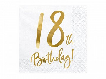 Napkins 18th Birthday, white, 33x33cm (1 pkt / 20 pc.)