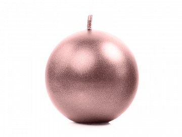 Candle Sphere, metallic, rose gold, 8cm (1 pkt / 6 pc.)