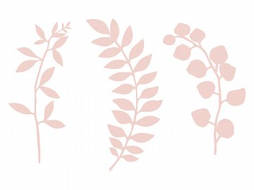 Branch with leaves decoration, powder pink (1 pkt / 9 pc.)