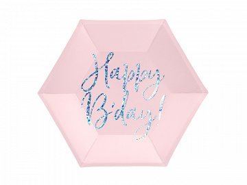 Plates Happy B'day!, light powder pink, 20cm (1 pkt / 6 pc.)