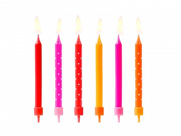 Birthday candles Colourful, mix, 6.5cm (1 pkt / 6 pc.)