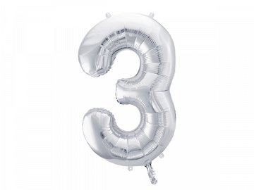 "Foil Balloon Number ""3"", 86cm, silver"