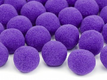 Plush pompoms, violet (1 pkt / 20 pc.)