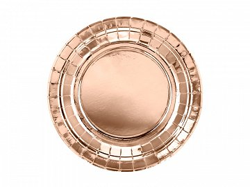 Round paper plates, rose gold, 18cm  (1 pkt / 6 pc.)