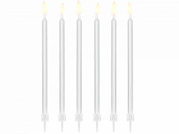 Plain birthday candles, white, 14cm (1 pkt / 12 pc.)