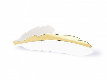 Place cards - Feathers, gold, 10.5x3cm (1 pkt / 10 pc.)