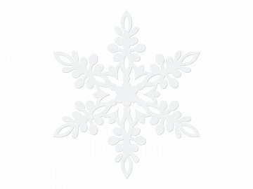 Paper decoration Snowflake, white, 13cm, white (1 ctn / 50 pkt) (1 pkt / 10 pc.)